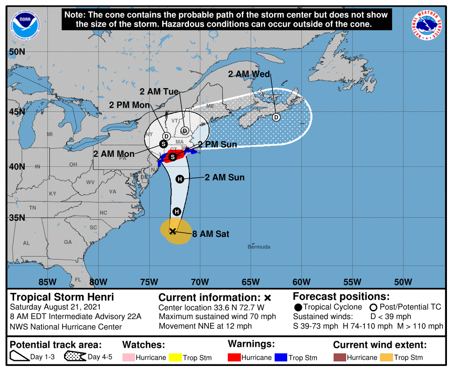 Hurricane Henri Map 8/21/21 1016am