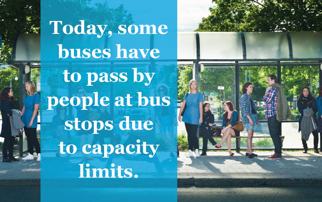 Today, some buses have to pass by people at bus stops due to capacity limits.