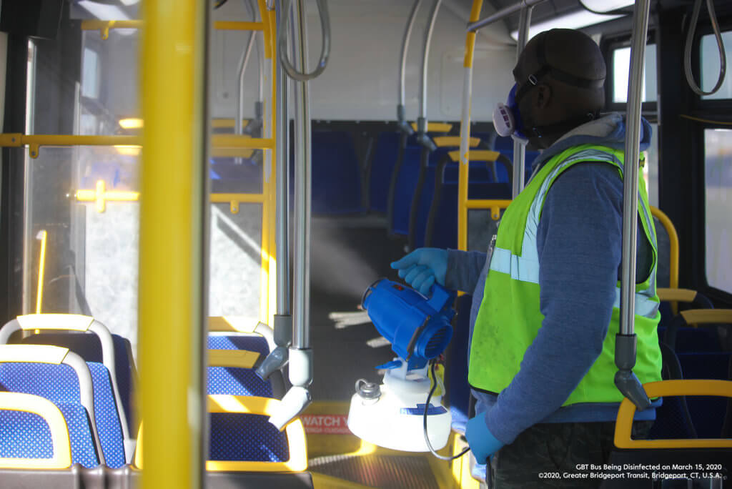 GBT Bus Being Disinfected on March 15, 2020
