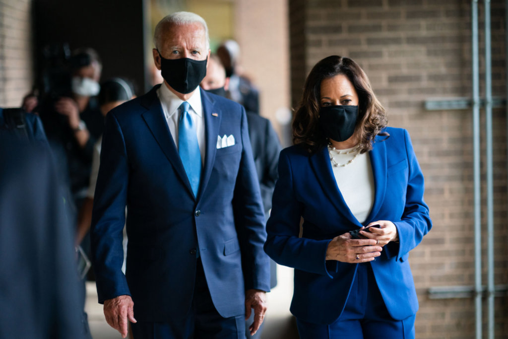 President Biden and Vice President Harris wearing masks January 2021